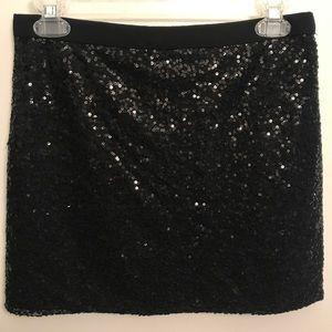 Black sequin J. Crew skirt